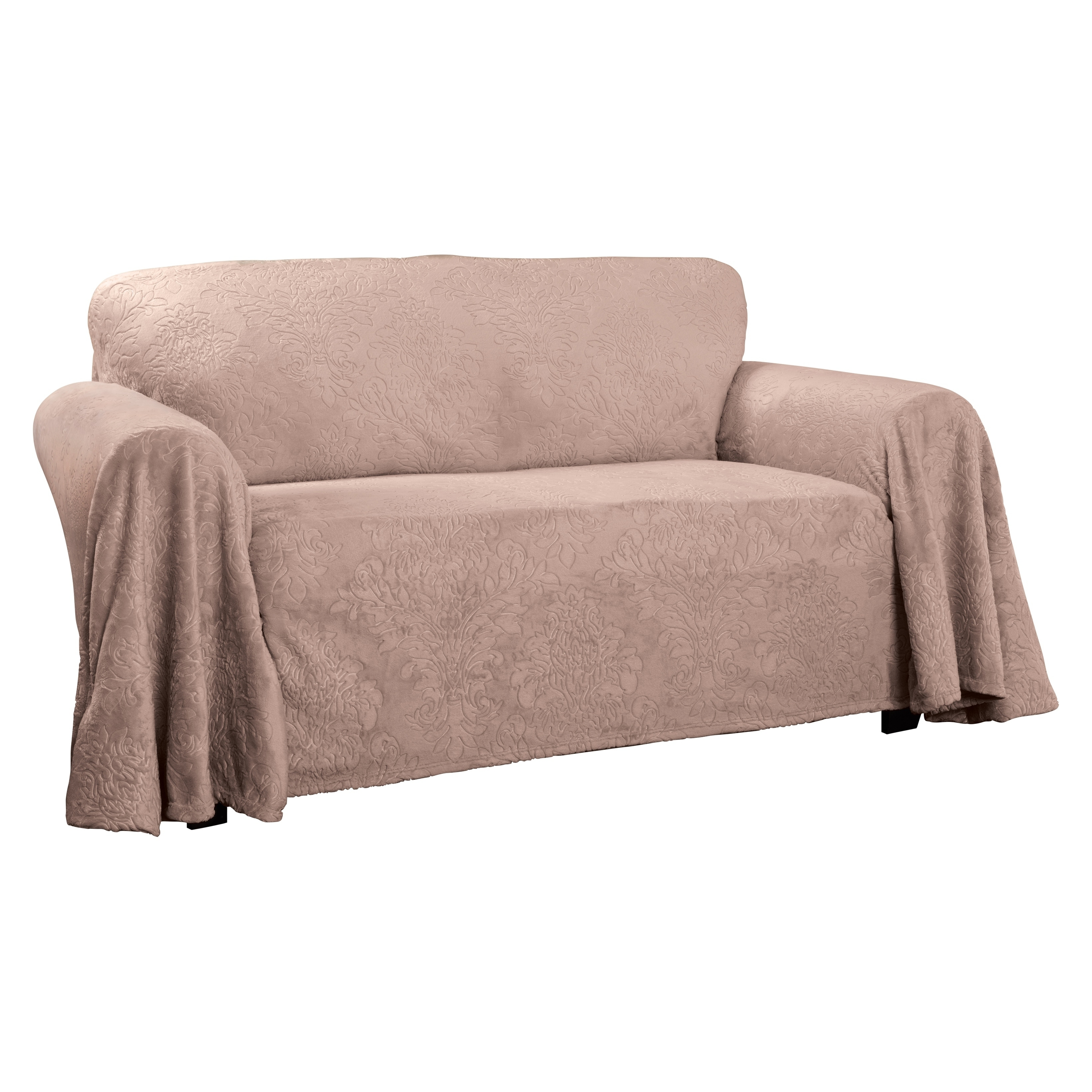 Strange Plush Damask Throw Loveseat Slipcover Caraccident5 Cool Chair Designs And Ideas Caraccident5Info