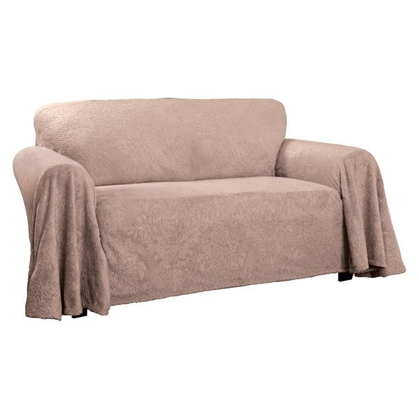 Incredible Shop Plush Damask Throw Loveseat Slipcover On Sale Free Onthecornerstone Fun Painted Chair Ideas Images Onthecornerstoneorg