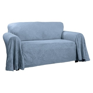 Plush Damask Throw Sofa Slipcover