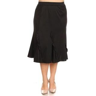 Women's Solid Comfy Basic Godet Style Ruffled Midi Skirt