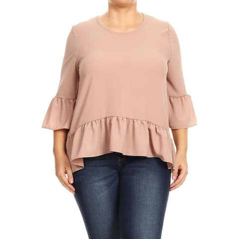 Women's Plus Size Solid Casual Hi-Low Loose Blouse Tunic Top
