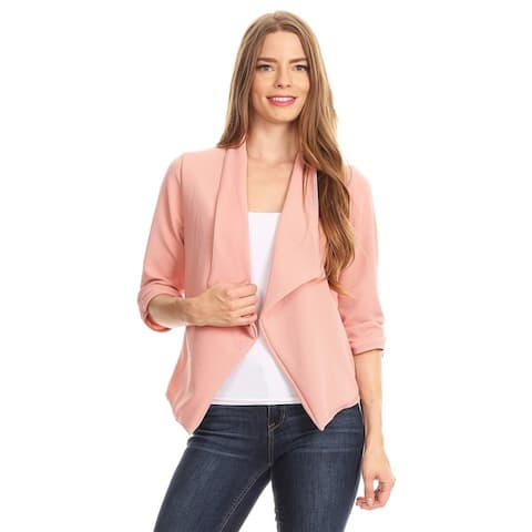 Women's Solid Print 3/4 Sleeve Casual Regular & Plus Size Cardigan Sweater Blazer