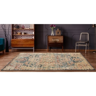 Porch & Den Stillwell Distressed Floral Medallion Pattern Area Rug