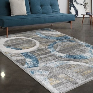 """Allstar Rugs Grey and Light Grey Circular Pattern Hand Carved Rectangular Area Rug with Turquoise Design - 4' 11"""" x 7' 0"""""""