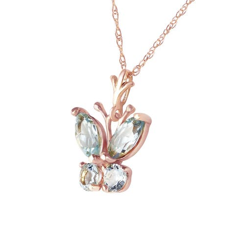 0.6 Carat 14K Solid Rose Gold Butterfly Necklace Aquamarine