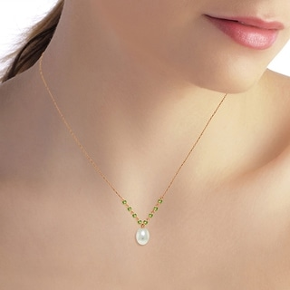 Link to 14K Solid Rose Gold Necklace with Natural Peridots & pearl Similar Items in Necklaces