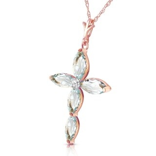 Link to 14K Solid Rose Gold Necklace with Natural Diamond & Aquamarines Similar Items in Necklaces