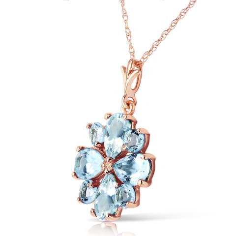 2.43 Carat 14K Solid Rose Gold Passion Aquamarine Necklace