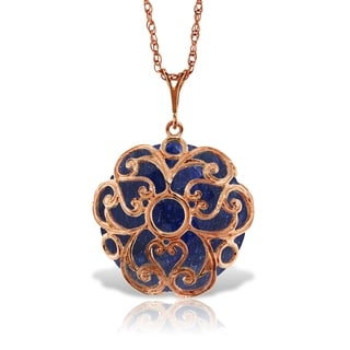 14K Solid Rose Gold Necklace With Checkerboard Cut Round Dyed Sapphire