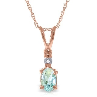 Link to 14K Solid Rose Gold Necklace withNatural Diamond & Aquamarine Similar Items in Necklaces