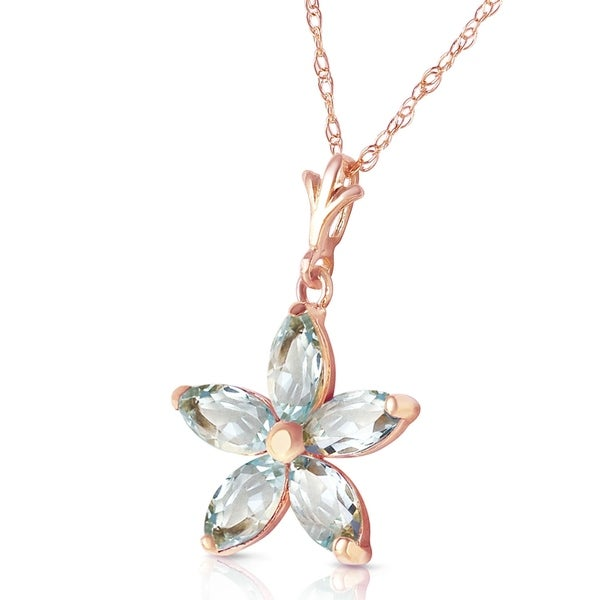 14K Solid Rose Gold Necklace with Natural Aquamarines. Opens flyout.