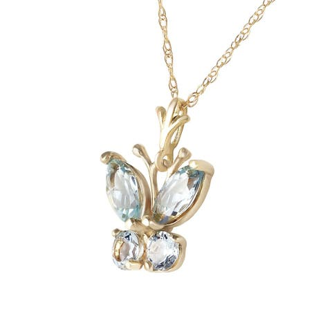 0.6 Carat 14K Solid Gold Butterfly Necklace Aquamarine