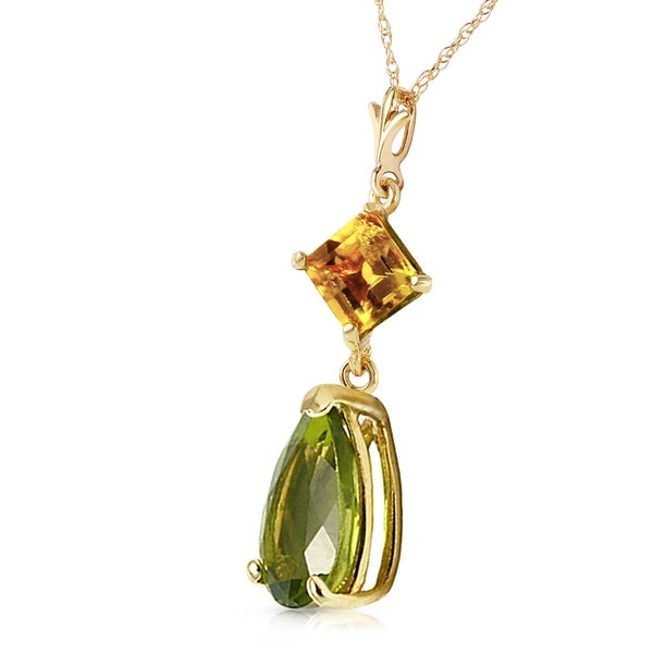 22c114b4195e1 Shop 2 CTW 14K Solid Gold Necklace Natural Citrine Peridot - On Sale ...