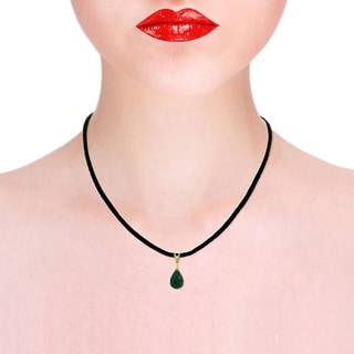 15 51 Carat 14K Solid Gold Leather Necklace Diamond Emerald
