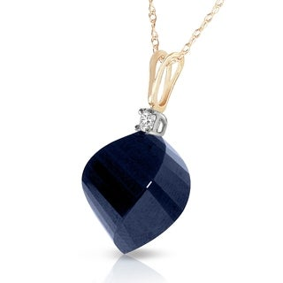 15 3 Carat 14K Solid Gold Necklace Diamond Twisted Briolette Sapphire