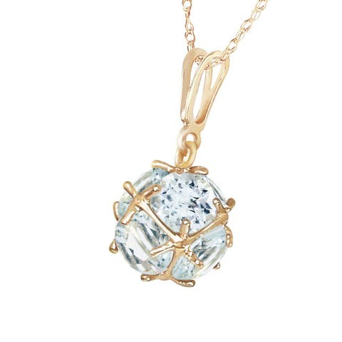 14K Solid Gold Necklace with Natural Aquamarines