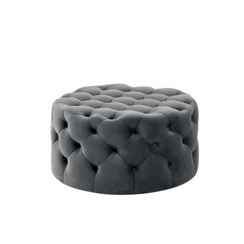 Traditional Style Flannelette Upholstered Button Tufted Wooden Ottoman, Gray