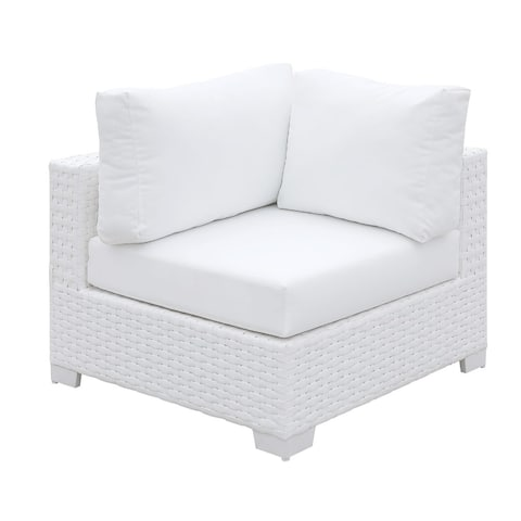 White Polyester and Aluminum Corner Chair with Padded Seat Cushion