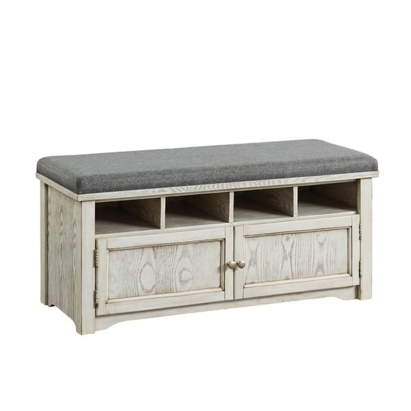 Remarkable White Wood Storage Shoe Bench With Grey Linen Cushion Uwap Interior Chair Design Uwaporg