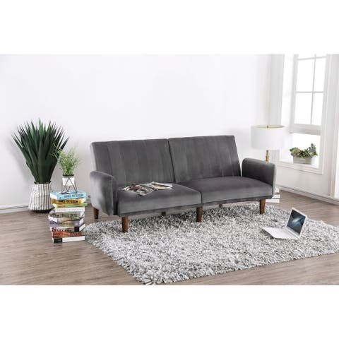 Modern Style Vertically Tufted Flannelette Upholstered Futon Sofa with Tapered Wooden Leg, Gray
