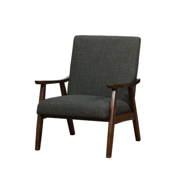 Dark Grey Upholstered Accent Chair With Curved Wood Arms