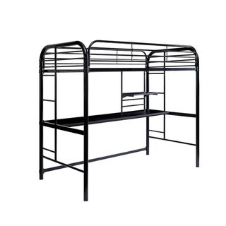 Metal Frame Twin Size Loft Bed with 2 Attached Ladders, Black