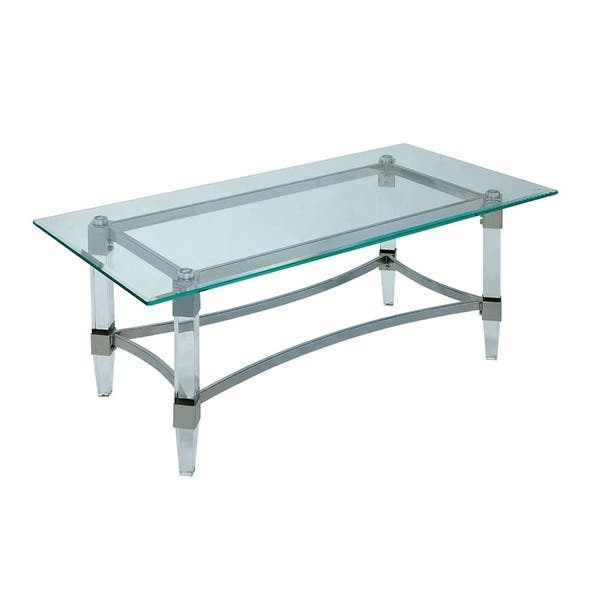Glass Coffee Table Silver Legs 11