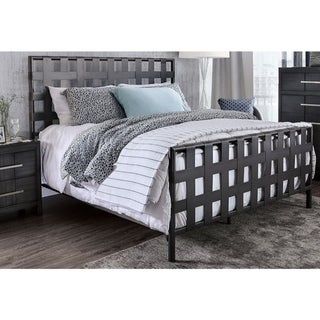 Industrial Style Queen Size Metal Bed with Lattice Headboard and Footboard, Gray