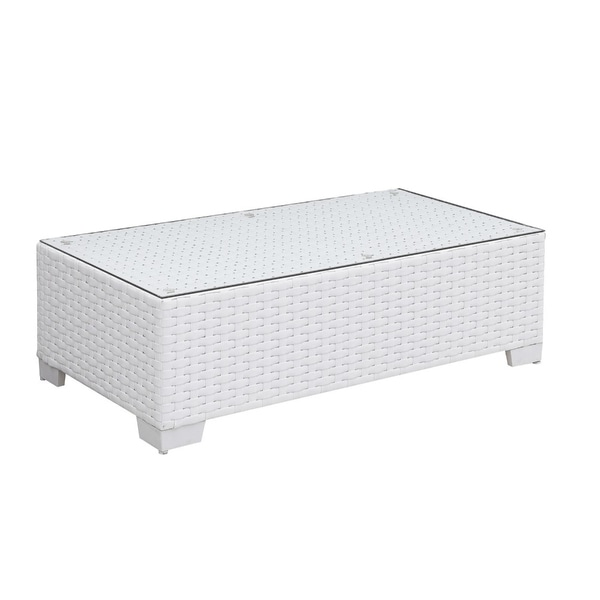 Aluminum Frame Rectangular Coffee Table with Woven Wicker Base and Glass On Top, White