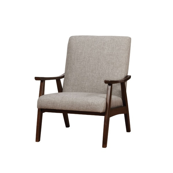 Shop Light Grey Upholstered Accent Chair With Curved Wood Arms