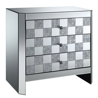 Three Drawer Mirrored End Table with Checkered Front Panel, Silver