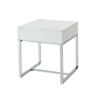 Square Shape Wooden End Table with One Drawers and Metal Base, White and Silver