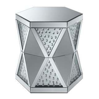 Hexagonal Shaped Glass Top End Table with Diamond Pattern Base, Silver