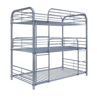 Metal Frame Three Tier Twin Size Bunk Bed with 2 Attached Ladders and Side Rails, Silver