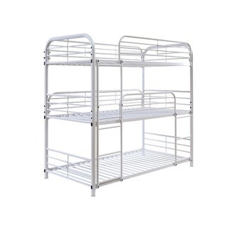 Metal Frame Three Tier Twin Size Bunk Bed with 2 Attached Ladders and Side Rails, White