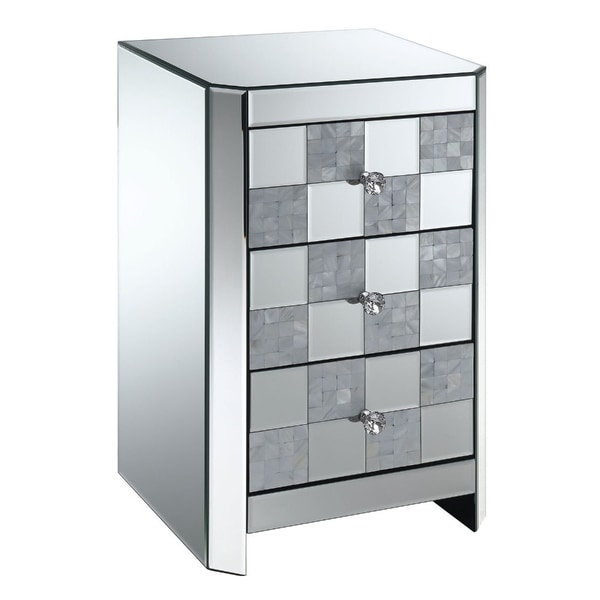 Three Drawer Mirrored Side Table with Checkered Front Panel, Silver