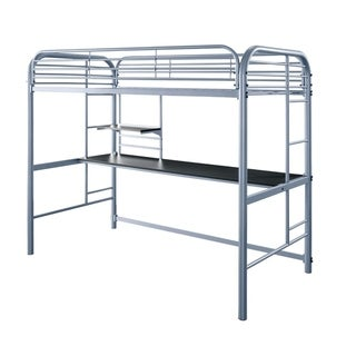 Metal Frame Twin Size Loft Bed with 2 Attached Ladders, Silver