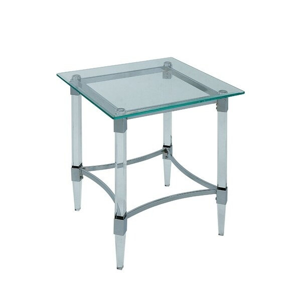 Shop Silver And Clear Glass End Table Free Shipping Today
