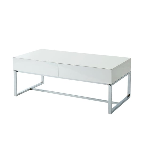 Contemporary Rectangular Coffee Table with Two Drawers and Metal Base, White and Silver
