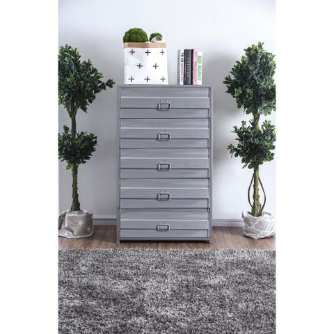 Industrial Style 5 Drawer Metal Chest with Spacious Storage, Gray
