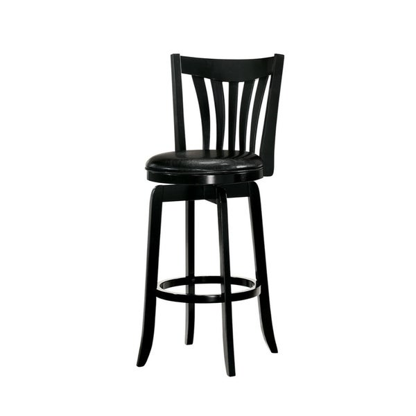 29 Inch Wooden Swivel Bar Stool With Leatherette Seat And Flared Legs Black On Free Shipping Today 26449306
