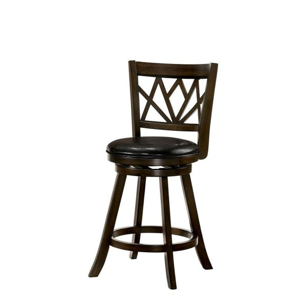 Shop 24 Wooden Swivel Bar Stool With Leatherette Seat And Flared