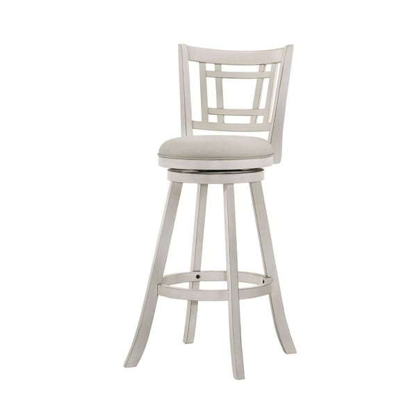29 Wooden Bar Stool With Fabric Upholstered Seat And Flared Legs White