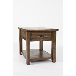 Wooden End Table With Drawer and Bottom Shelf,  Oak Brown