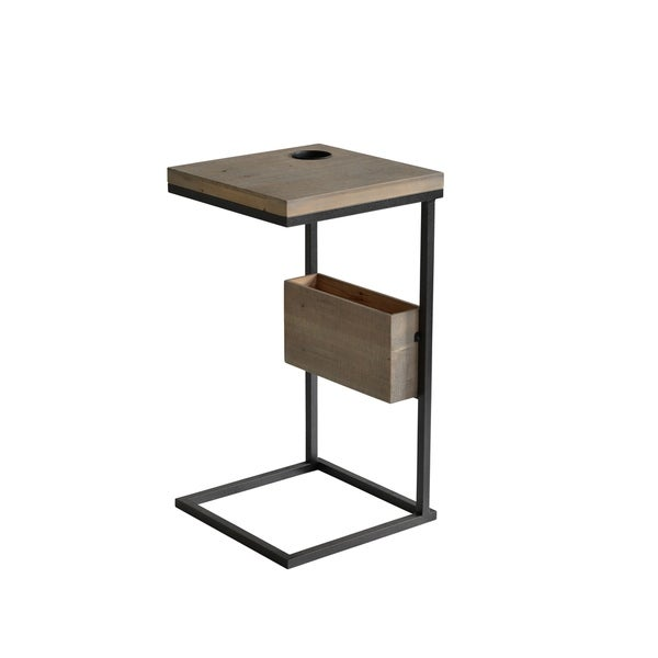 Contemporary Metal and Brown Wood Chairside Table with Magazine Rack