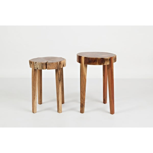 Brown Wooden Round Accent Tables (Set of 2)