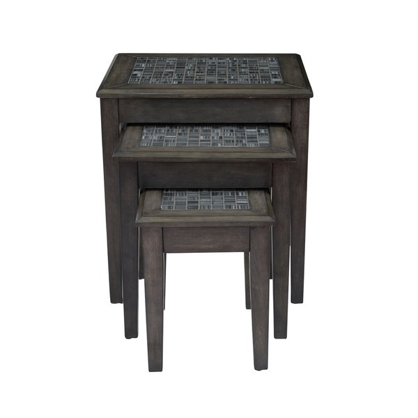 Nesting Table With Stone Marble Top In Dark Gray Finish, Set of 3