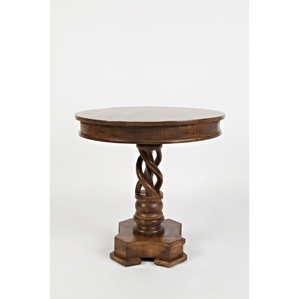 Shop Brown Hand Carved Round Table With Curved Pedestal Feet   On Sale    Free Shipping Today   Overstock   26449458