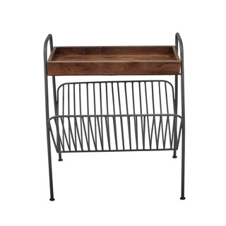 Wood And Metal Chair-side Table With Magazine Rack