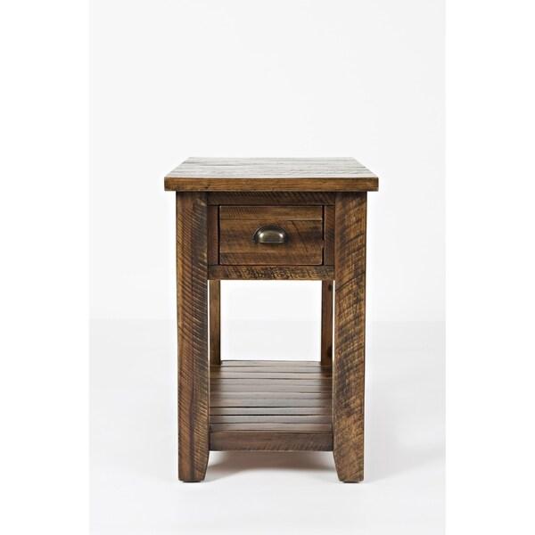 Dakota Oak Brown Wooden 1-drawer Chairside Table